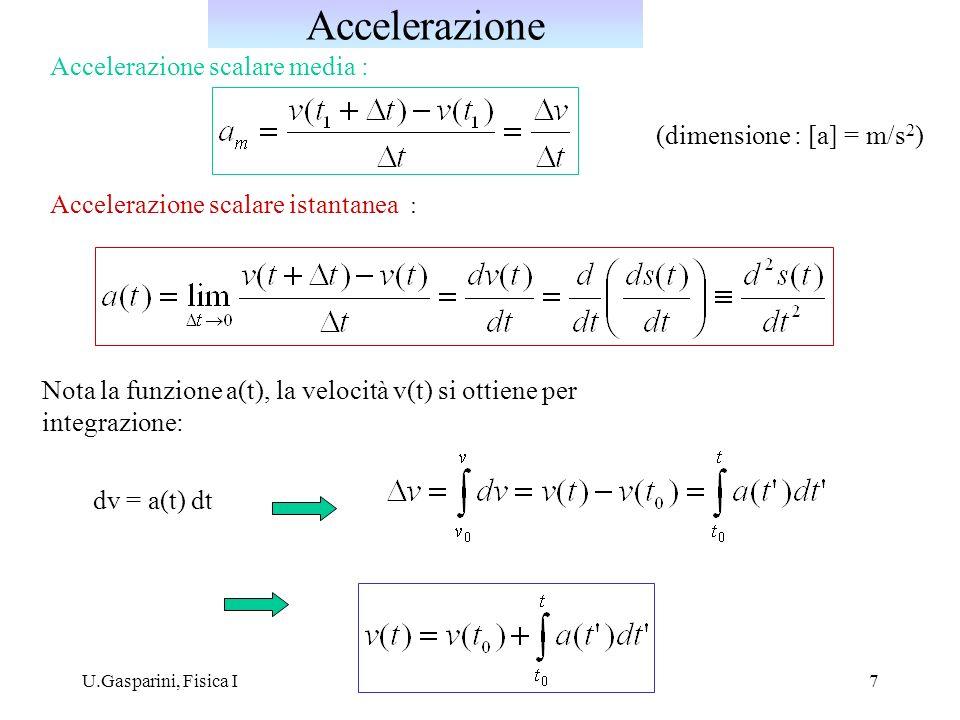 Accelerazione Accelerazione scalare media : (dimensione : [a] = m/s2)